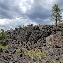 The jagged basalt formations of the Bonito Lava Flow