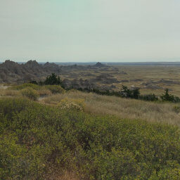 The view from Cliff Shelf looking southeast towards the pointy badlands formations