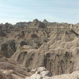 The outstanding desert-like badlands formation at the end of the Door Trail