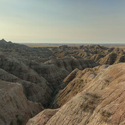 Badlands formations from up close, directly to the south of Pinnacles Overlook