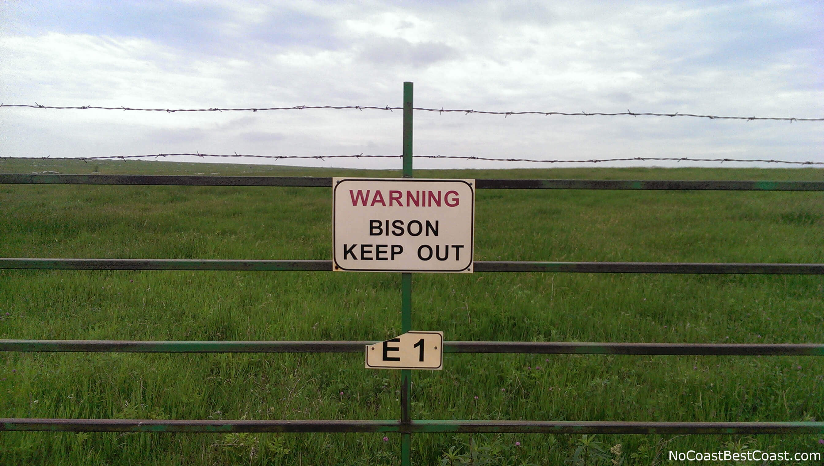 Bison keep out sign at Blue Mounds State Park