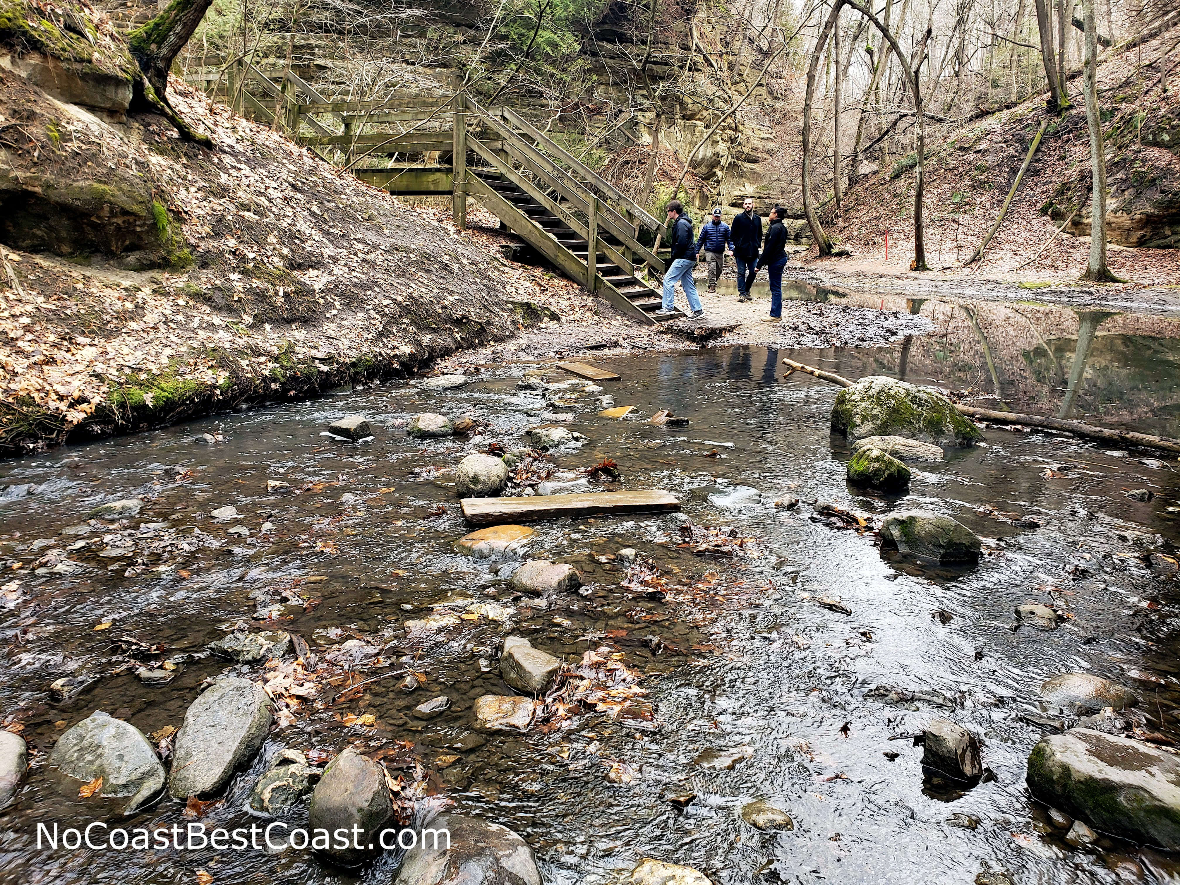 Precarious creek crossings are a hallmark of this trail