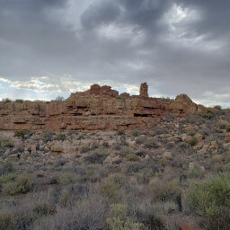 The Box Canyon Pueblos were built right against the walls of the canyon