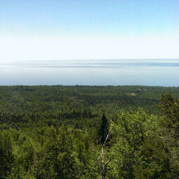 The endless blue of Lake Superior from the top of the Carlton Peak