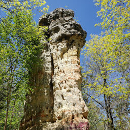 The tall sandstone column called Chimney Rock