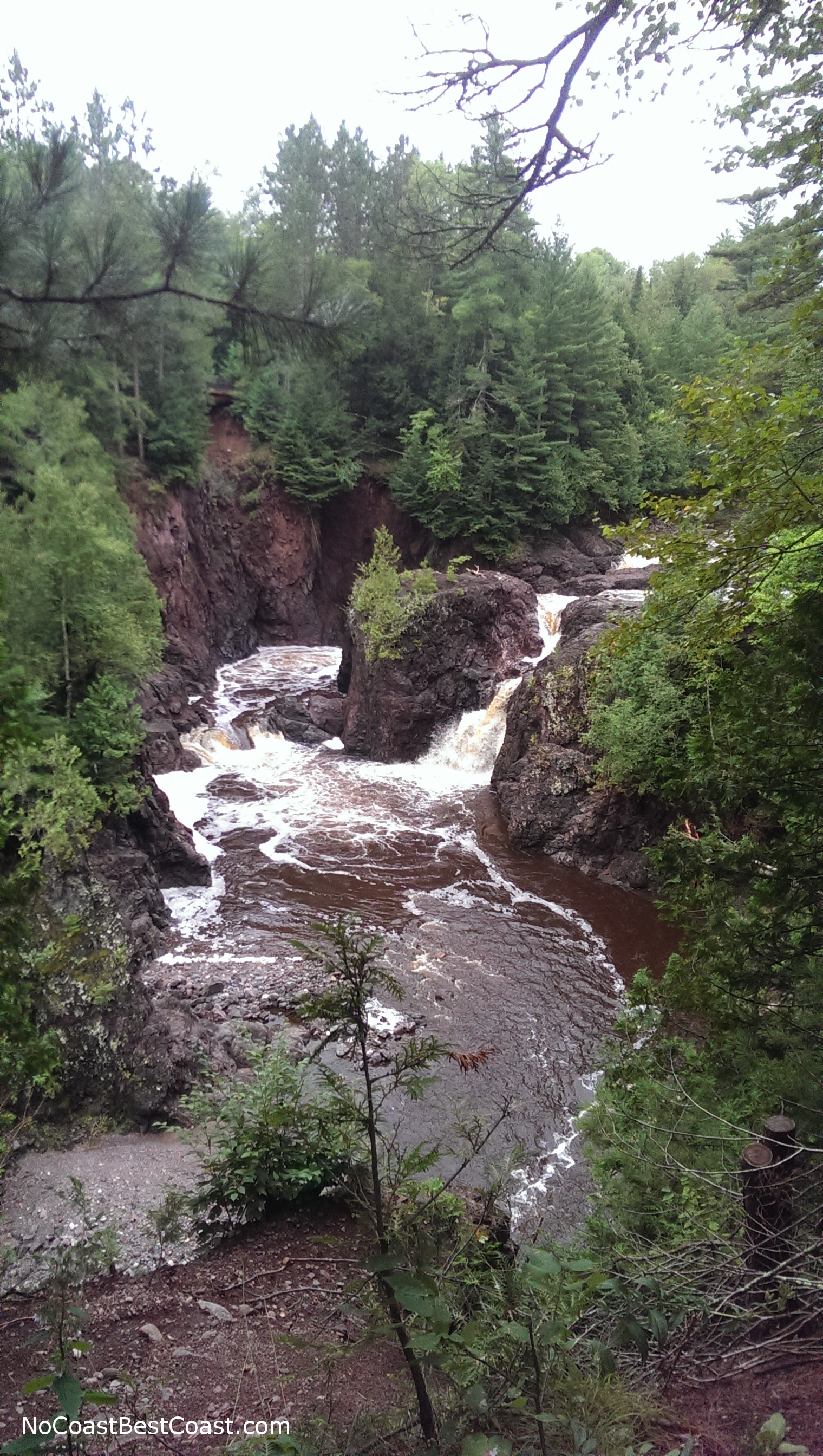 The powerful Brownstone Falls raging through the gorge