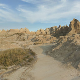 Spiky badlands formations in the distance