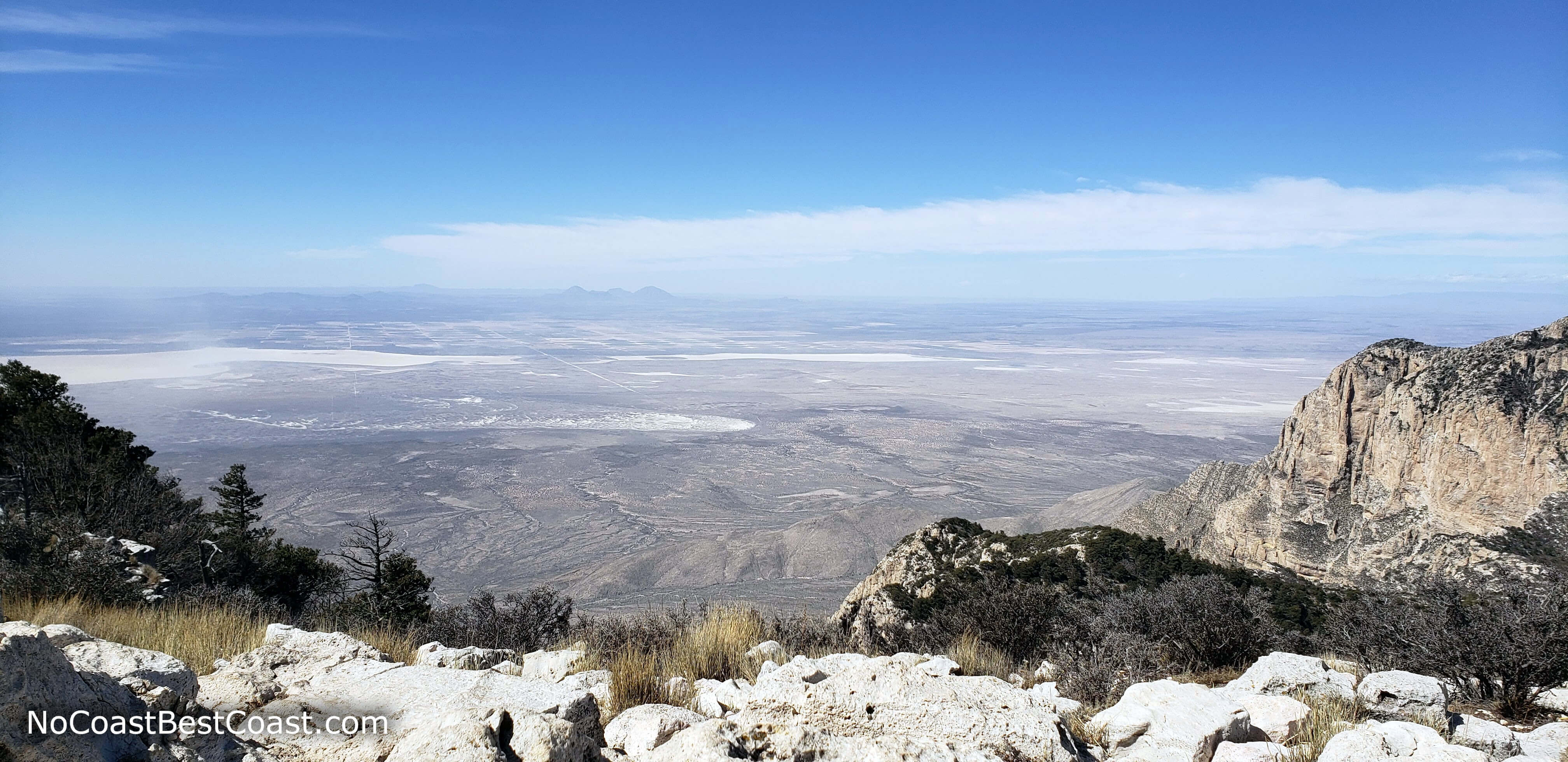 Views of the Salt Basin Dunes below and Franklin Mountains of El Paso in the far west