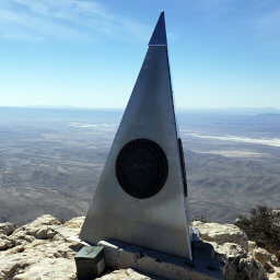 The summit monument built by American Airlines in commemoration of the 100th anniversary of the Butterfield Overland Mail stagecoach route