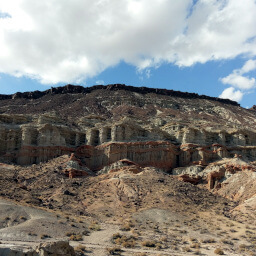 The red and white striped cliffs of Hagen Canyon