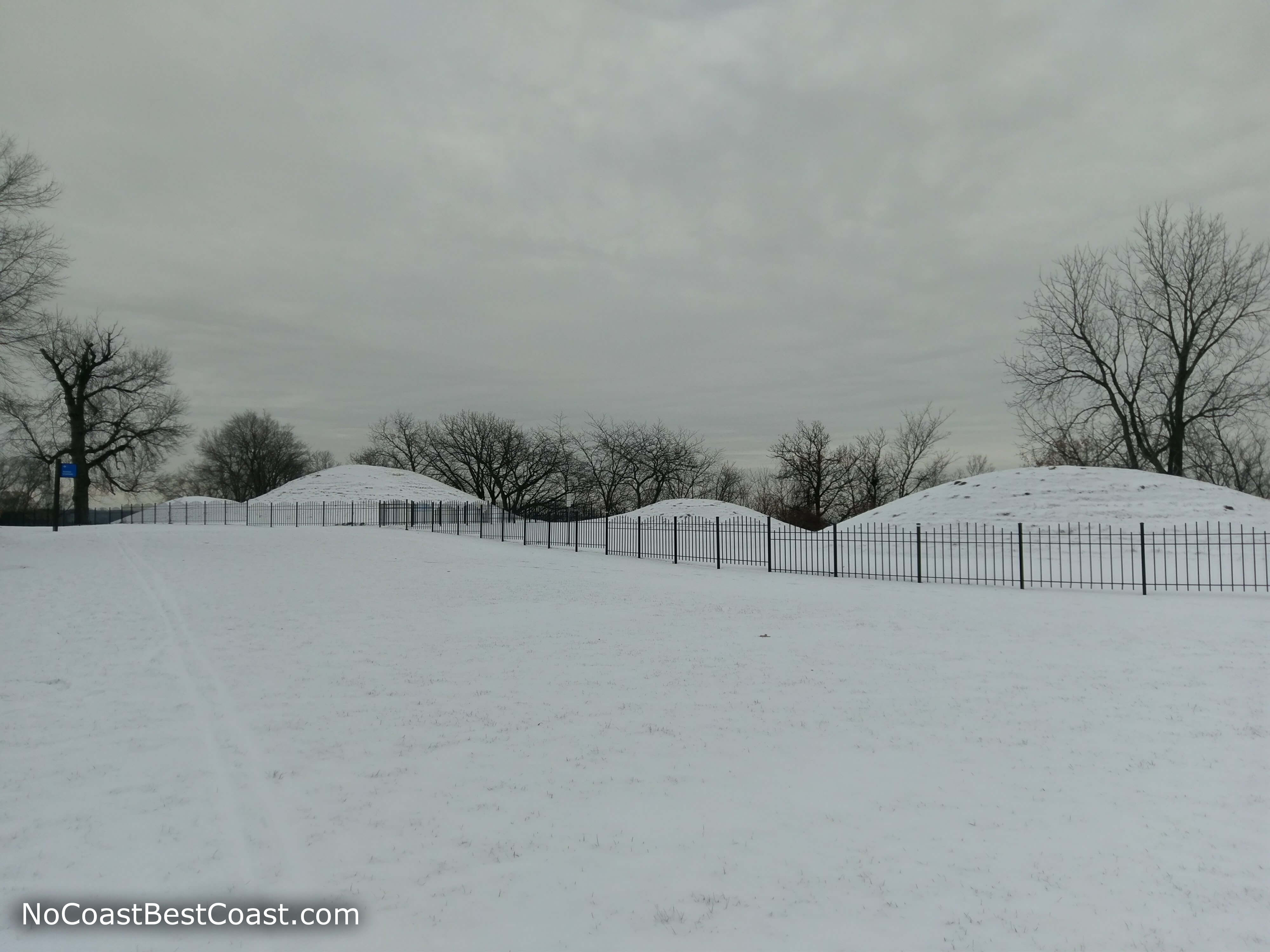 Snow covers these historic burial sites