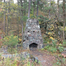 All that remains of this cabin is its fireplace