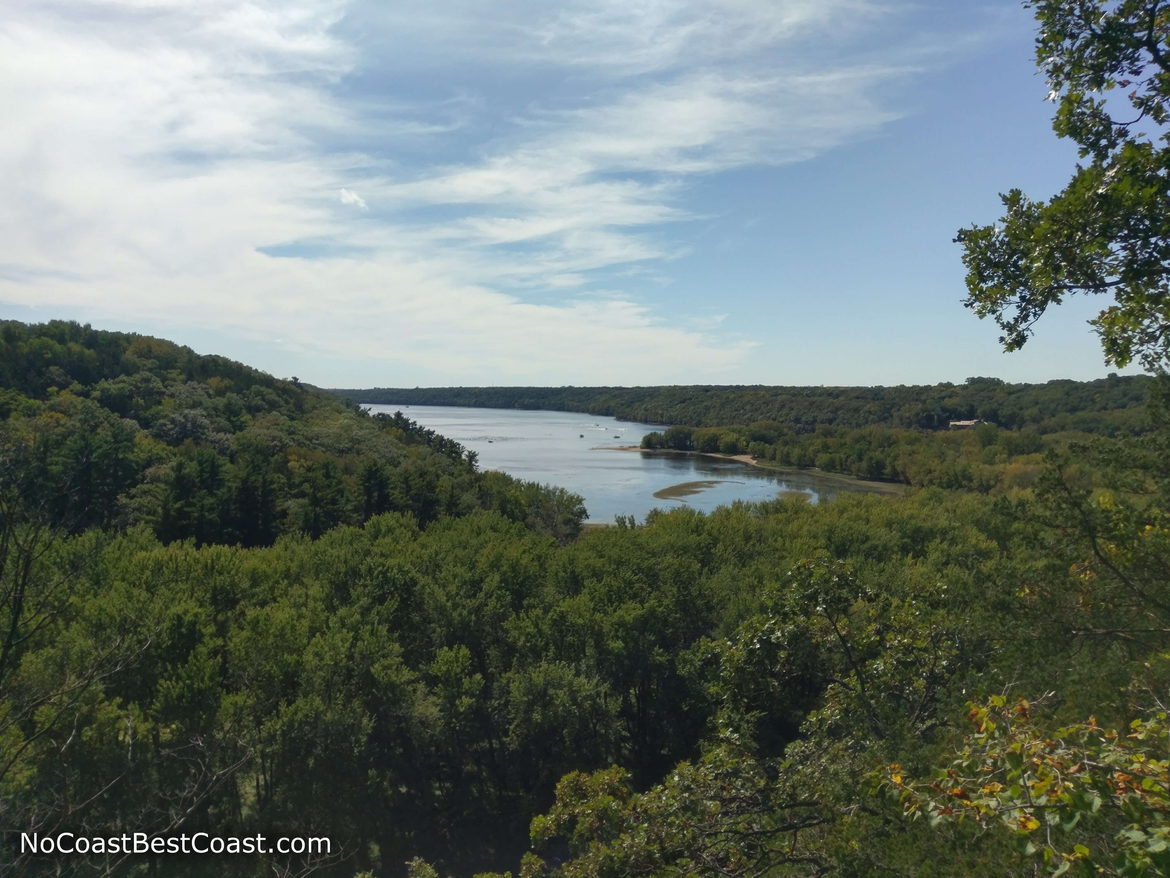 The forested bluffs of the St. Croix River from Kinnickinnic State Park