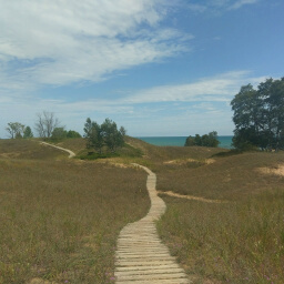 The cordwalk extending across the dunes with Lake Michigan in the background