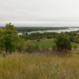 On-A-Slant Indian Village and the Missouri River as seen from the bluffs above