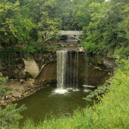 The larger of the two waterfalls at Minneopa State Park