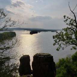 The Twin Sisters and the Mississippi River beyond in the late afternoon sun