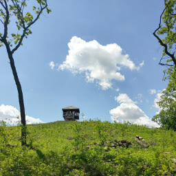 The observation tower on top of Mount Tom.
