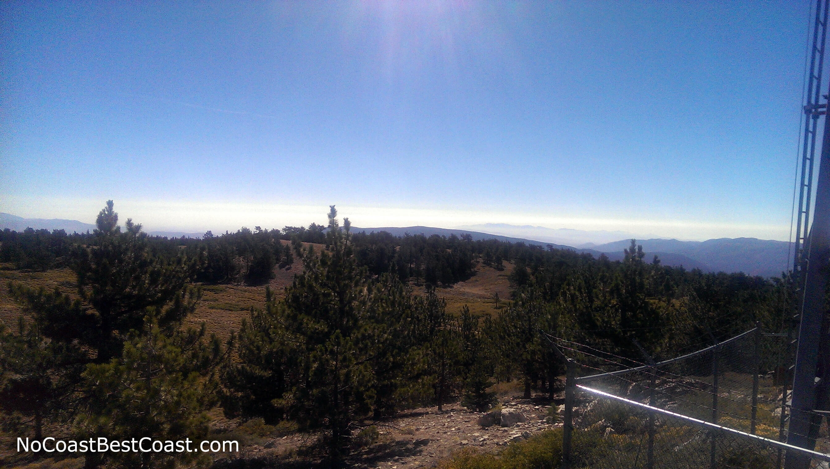 The view south from the electrical equipment atop Mount Pinos