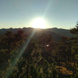 Looking west towards the bright sun over Black Elk Peak