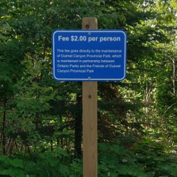 Sign declaring the $2 (Canadian) fee