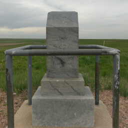 A closer look at the stone highpoint monument