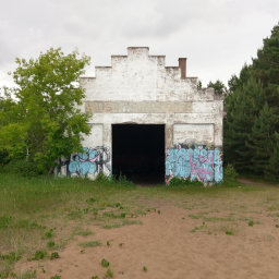 This ruined building is an interesting attraction for urban explorers or graffiti aficionados