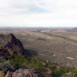 Looking north along I-10 on the summit of Picacho Peak