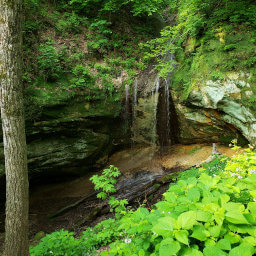 The mossy waterfall at Little Sand Cave