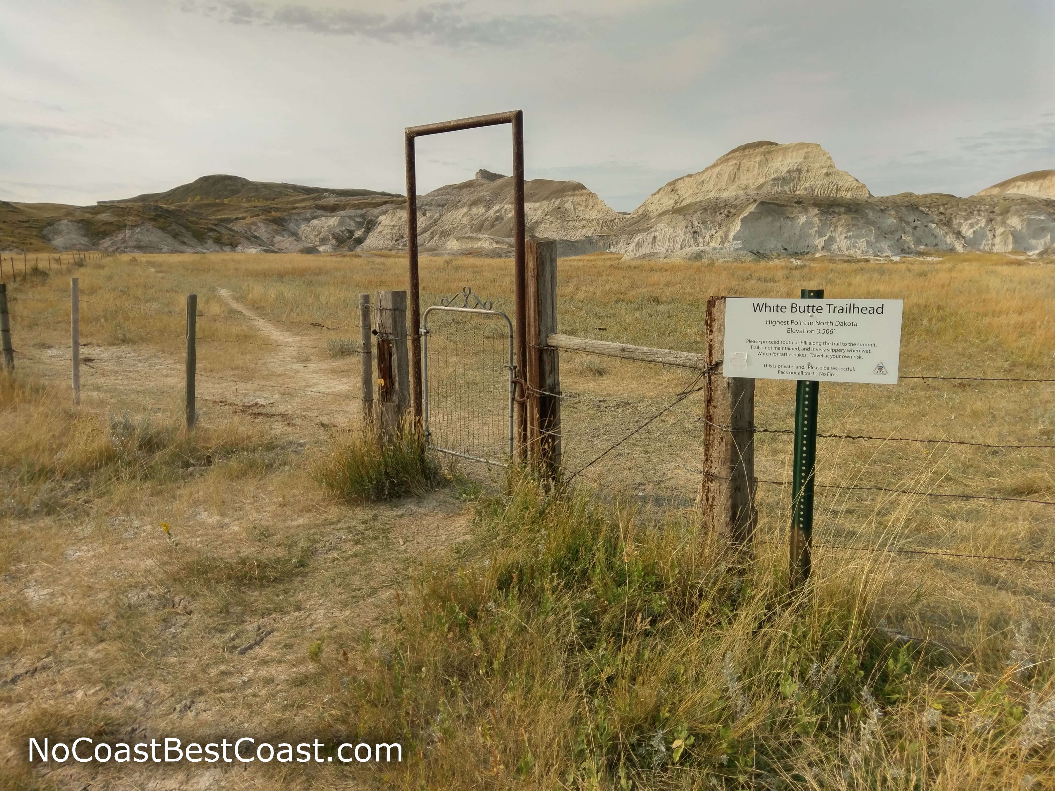 The entrance gate to the trail to White Butte