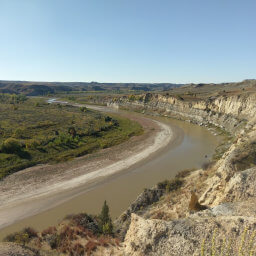 The Little Missouri River as seen looking west from the trail