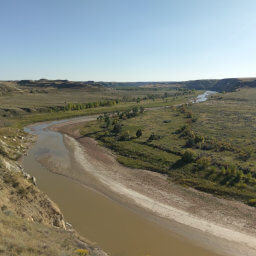 Looking south to where the badlands flatten along the Little Missouri River